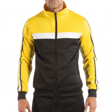 Hanorac negru 5 striped cu galben pentru bărbați it240818-108 2