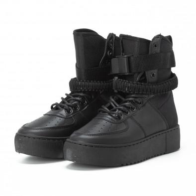 Teniși înalți pentru dama All black cu accesoriu it150818-62 4