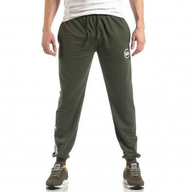Pantaloni sport de bărbați verzi cu logo și benzi it210319-48 2