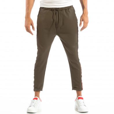 Pantaloni ușori în verde cu benzi pentru bărbați it240818-62 3