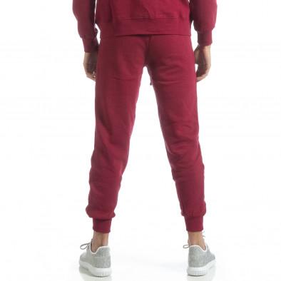 Pantaloni de trening în bordo basic pentru bărbați it051218-30 4