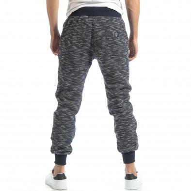 Pantaloni sport groși în melanj albastru pentru bărbați it051218-20 4