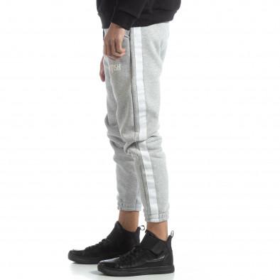 Pantaloni de trening din bumbac în gri deschis British pentru bărbați it051218-21 2