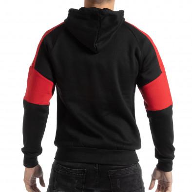 Hanorac simplu pentru bărbați negru cu părți albe și roșii it261018-78 3