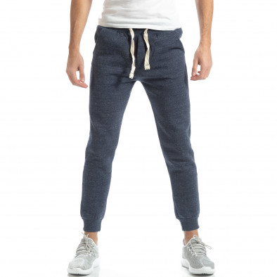 Pantaloni de trening pentru bărbați basic în melanj albastru  it051218-18 2