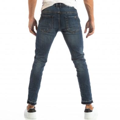 Blugi pentru bărbați albaștri cu patch-uri și țiv destrămat it240818-48 3