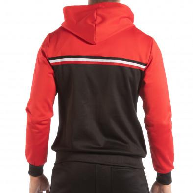 Hanorac în negru-roșu 3 striped pentru bărbați it240818-110 3