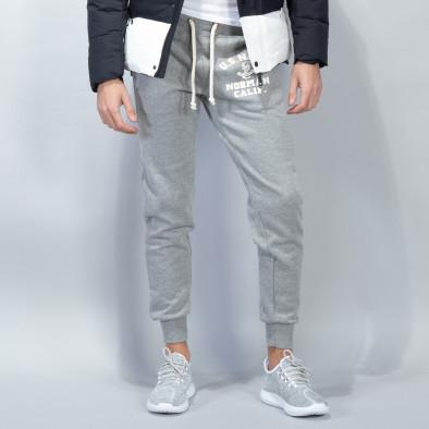 Pantaloni sport matlasați gri U.S.Navy pentru bărbați it051218-31 2
