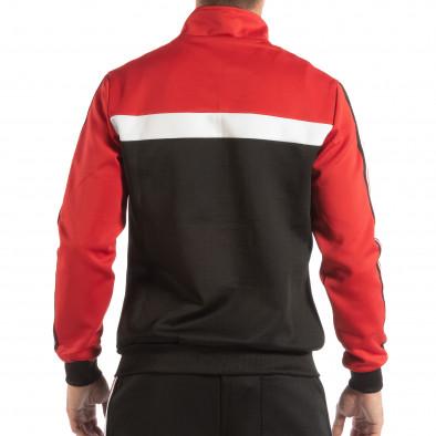 Hanorac negru 5 striped cu roșu pentru bărbați it240818-107 3