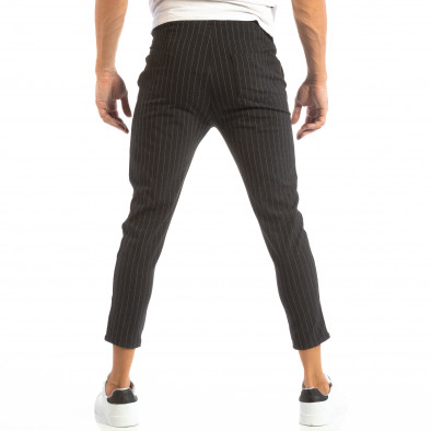 Pantaloni ușori gri închis în dungi pentru bărbați it240818-69 4