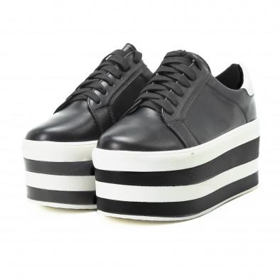 Teniși pentru dama cu platforma în alb-negru it140918-54 4