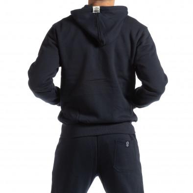 Hanorac pentru bărbați albastru din bumbac cu logo galben it261018-66 3