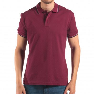 Tricou cu guler bărbați Bruno Leoni roșu it150616-35 2