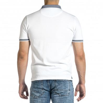 Tricou cu guler bărbați Baker's alb it150521-14 3