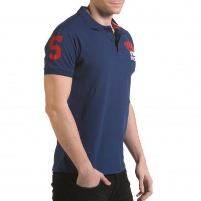 Tricou cu guler bărbați Franklin albastru il170216-28 4