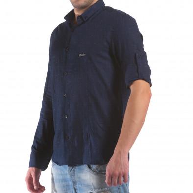 Cămașă cu mânecă lungă bărbați Eksi albastră il210616-29 4
