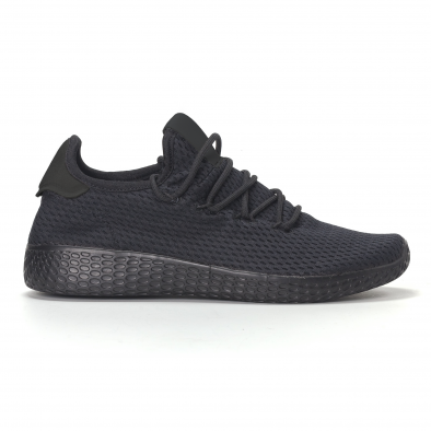 Adidași de bărbați negri All-black cu talpa ușoara it240418-31 2