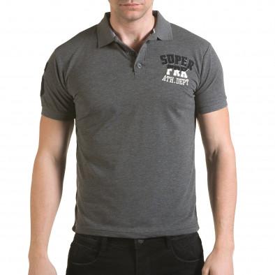 Tricou cu guler bărbați Franklin gri il170216-23 2