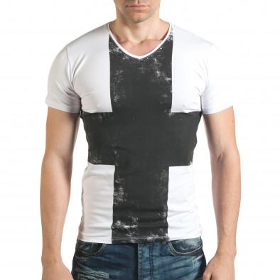 Tricou bărbați Berto Lucci alb il140416-7 2