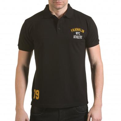 Tricou cu guler bărbați Franklin negru il170216-34 2
