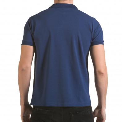 Tricou cu guler bărbați Franklin albastru il170216-33 3
