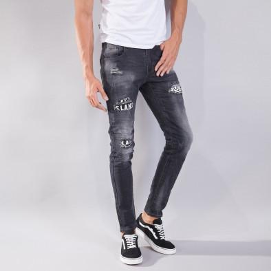 Blugi pentru bărbați în negru cu efect decolorat si patch-uri it240818-31 2