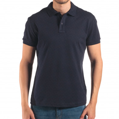 Tricou cu guler bărbați Bruno Leoni albastru it150616-36 2