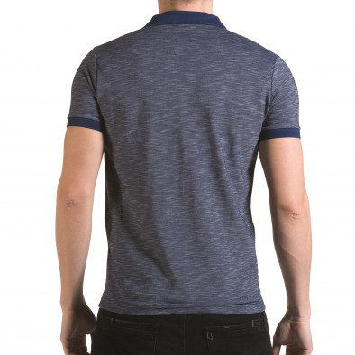 Tricou cu guler bărbați Franklin albastru il170216-41 3