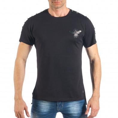 Tricou de bărbați negru cu aplicație și ținte it260318-186 2