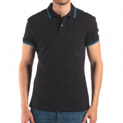 Tricou cu guler bărbați Bruno Leoni negru it150616-34 2