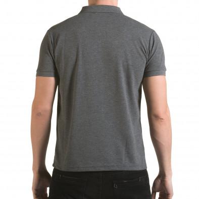 Tricou cu guler bărbați Franklin gri il170216-30 3