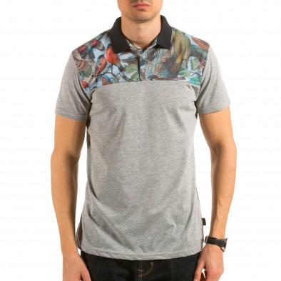 Tricou cu guler bărbați Catch gri il180215-102 2