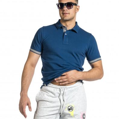 Tricou cu guler bărbați Baker's albastru it150521-17 4