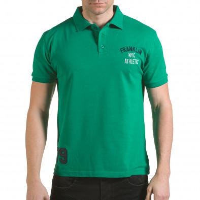 Tricou cu guler bărbați Franklin verde il170216-32 2