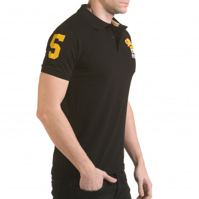 Tricou cu guler bărbați Franklin negru il170216-25 4