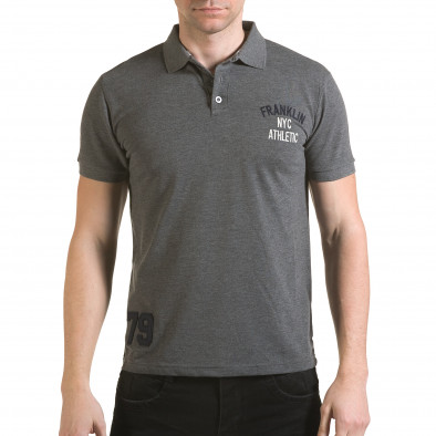 Tricou cu guler bărbați Franklin gri il170216-30 2