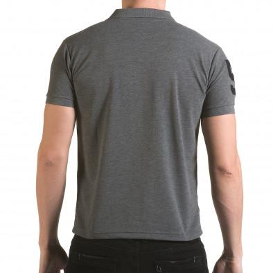 Tricou cu guler bărbați Franklin gri il170216-23 3