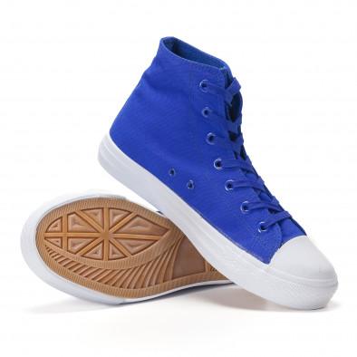Teniși înalți albaștri cu talpă albă pentru bărbați it250118-5 4