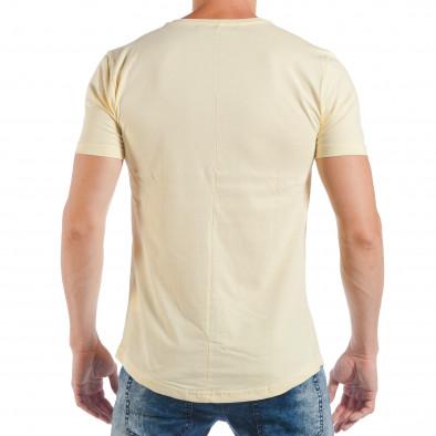 Tricou galben pentru bărbați cu imprimeu pop-art tsf250518-12 3
