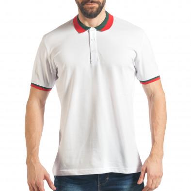 Tricou cu guler bărbați Black Island alb tsf020218-61 2