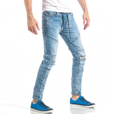 Blugi pentru bărbați albaștri cu elastic it040518-5 4