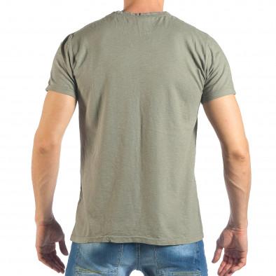 Tricou de bărbați verde cu inscripții negre it260318-182 3