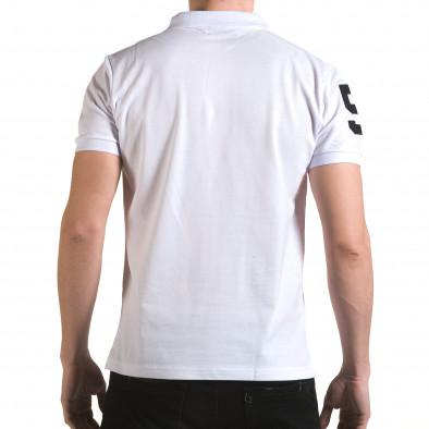 Tricou cu guler bărbați Franklin alb il170216-27 3