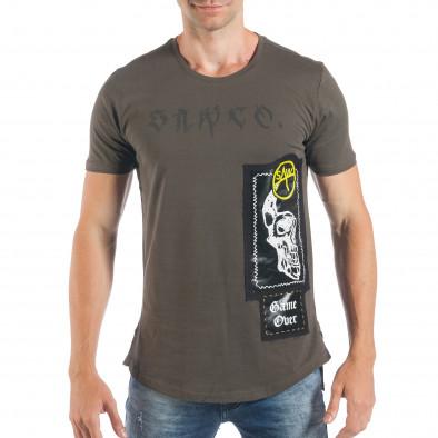 Tricou verde tip Rocker de bărbați cu imprimeu tsf250518-20 3