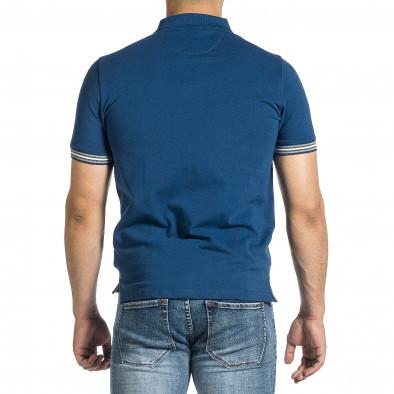 Tricou cu guler bărbați Baker's albastru it150521-17 3