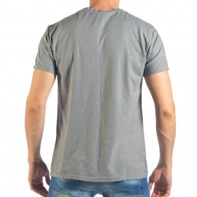 Tricou de bărbați gri cu inscripții negre it260318-184 3