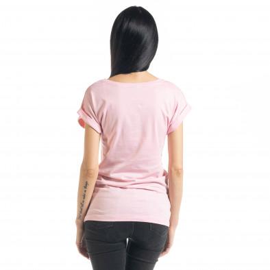 Tricou roz de dama cu imprimeu il080620-3 3