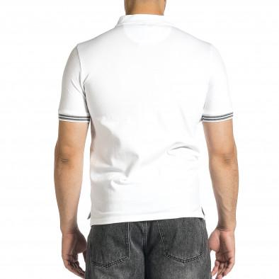 Tricou cu guler bărbați Baker's alb it150521-19 3