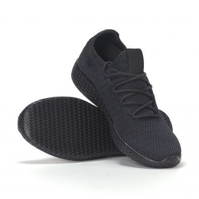 Adidași de bărbați negri All-black cu talpa ușoara it240418-31 4