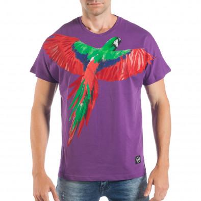 Tricou violet pentru bărbați cu imprimeu papagal tsf250518-9 2